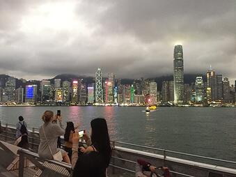 victoria harbor with skyline of Hong Kong